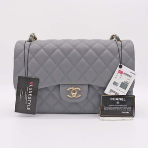 Chanel Classic Jumbo Double Flap 20C Gray Quilted Caviar with light gold hardware