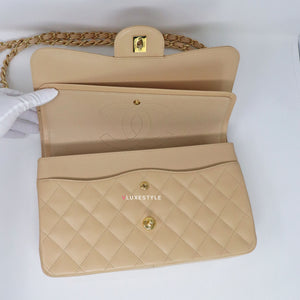 Classic Jumbo Double Flap Beige Quilted Caviar with gold hardware