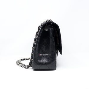 Chanel Classic Jumbo Double Flap Black Quilted Caviar with silver hardware