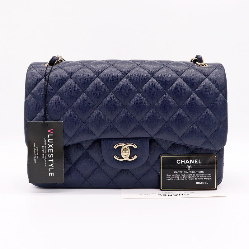 Chanel Classic Jumbo Double Flap 20C Navy Quilted Caviar with light gold hardware