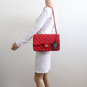 Classic Jumbo Double Flap 19B Red Quilted Caviar with light gold hardware