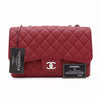 Chanel Classic Jumbo Single Flap Ruby Red Quilted Caviar with silver hardware