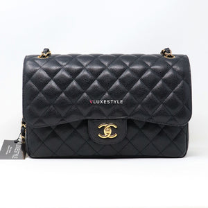 20% Non-refundable deposit to reserve: Chanel Classic Jumbo Double Flap Black Quilted Caviar with gold hardware