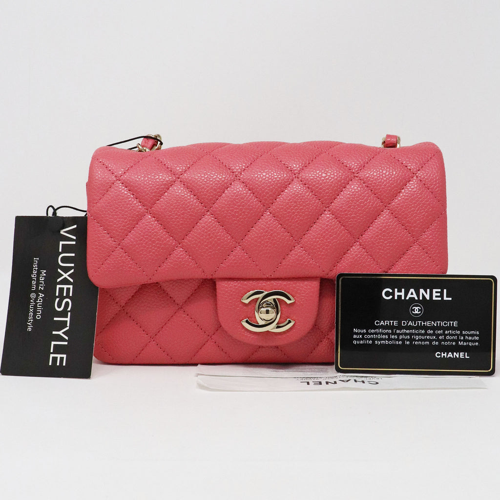 Chanel Classic Mini Rectangular 18S Pearly Pink Quilted Caviar with light gold hardware