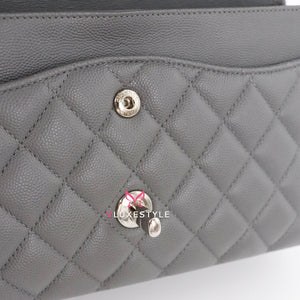 Chanel Classic Medium Double Flap 17B Gray Quilted Caviar with silver hardware