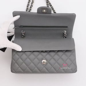 20% Non-refundable deposit to reserve: Chanel Classic Medium Double Flap 17B Gray Quilted Caviar with silver hardware