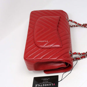 Chanel Classic Medium Double Flap 16S Red Chevron Caviar with silver hardware
