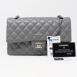 Chanel Classic Medium 17B Gray Quilted Caviar with silver hardware