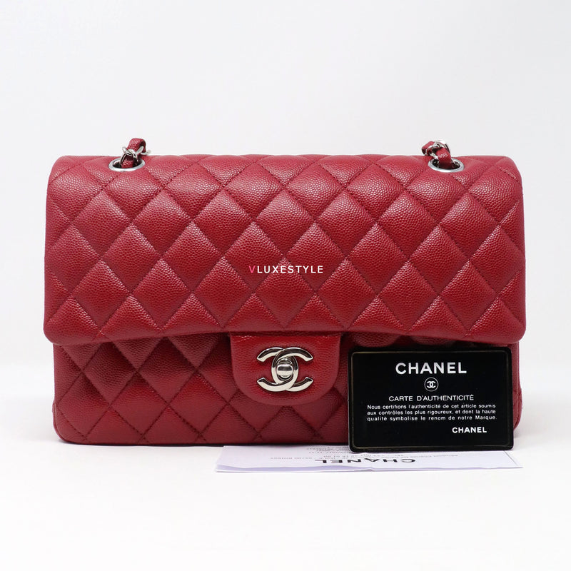 Chanel Classic 17B Medium Red Quilted Caviar with silver hardware