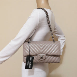 RESERVED Chanel Classic Medium Double Flap 18B Iridescent Taupe Chevron Aged Calfskin with ruthenium hardware