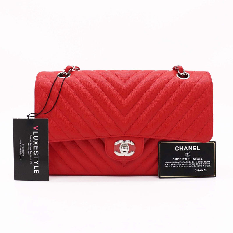 Chanel Classic Medium Double Flap 17S Red Chevron Caviar with silver hardware
