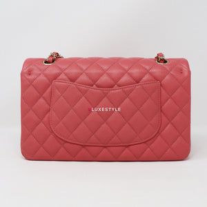 Chanel Classic Medium Double Flap 19B Rose/Pink Quilted Caviar with light gold hardware