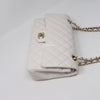 Chanel Classic Medium Double Flap 19B White Quilted Caviar with light gold hardware
