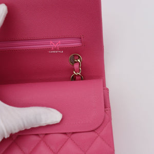 Chanel Classic Medium Double Flap 19C Pink Quilted Caviar with light gold hardware