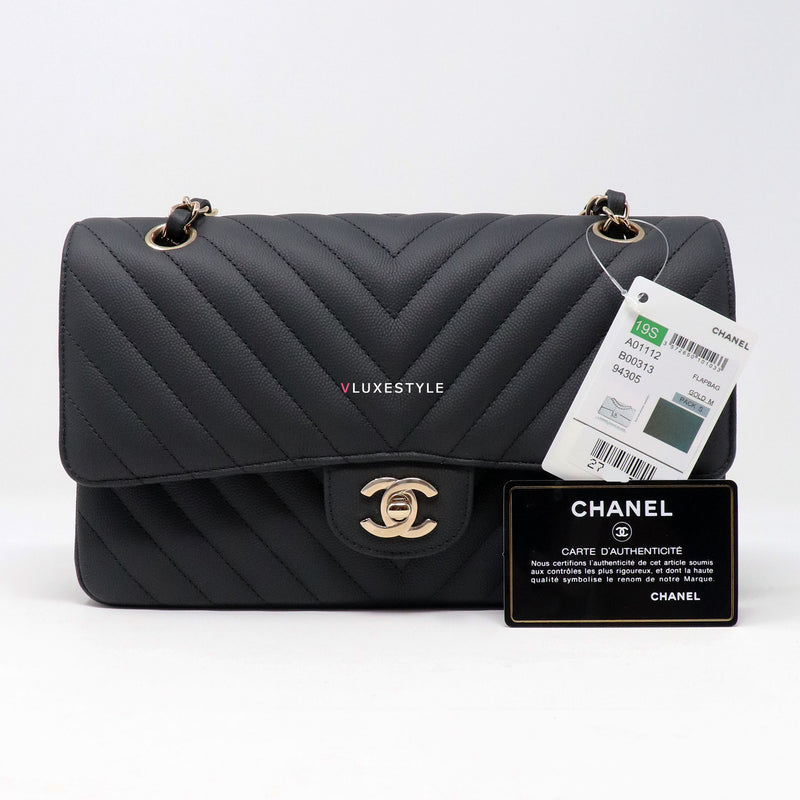Chanel Classic Medium 19S Black Chevron Matte Caviar with light gold hardware