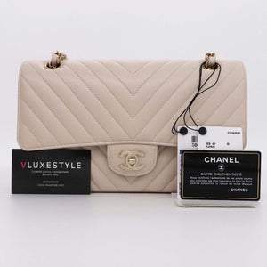 Partial payment: Chanel Classic Medium Double Flap 20B Beige Chevron Caviar with light gold hardware