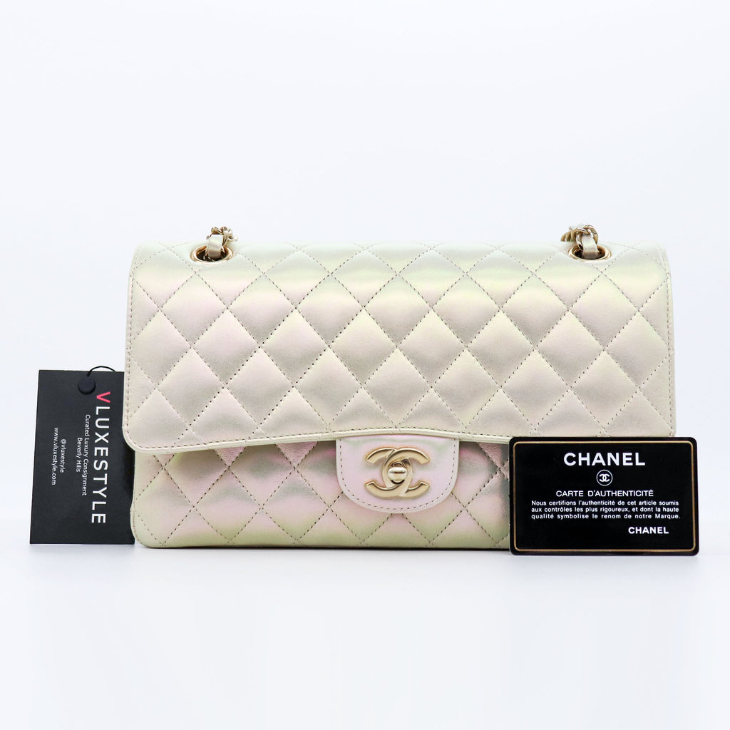 Chanel Classic Medium Double Flap 20B Iridescent Ivory Quilted Lambskin with light gold hardware