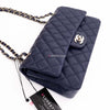 Chanel Classic Medium Double Flap 20C Navy Quilted Caviar with light gold hardware