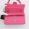 Chanel Classic Medium Double Flap 21C Pink Quilted Caviar with light gold hardware