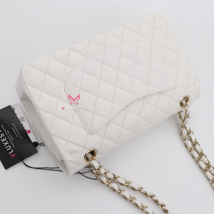 Chanel Classic Medium Double Flap 21C White Quilted Caviar with light gold hardware