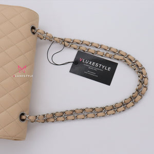 Chanel Classic Medium Double Flap Beige Clair Quilted Caviar with silver hardware