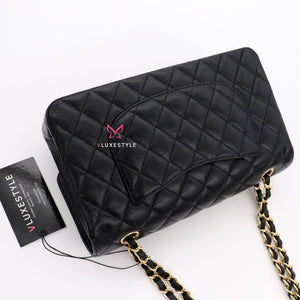 Chanel Classic Medium Double Flap Black Quilted Caviar with gold hardware