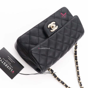 Partial payment: Classic Mini Rectangular 17B Black Quilted Caviar with light gold hardware