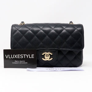 20% Non-refundable deposit to reserve: Chanel Classic Mini Rectangular Black Quilted Caviar with light gold hardware