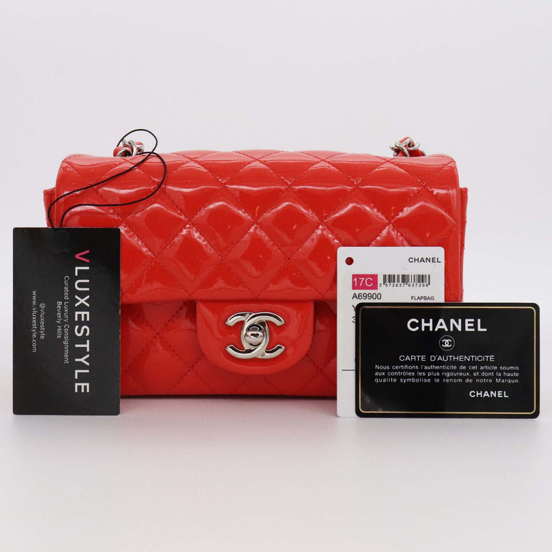 Chanel Mini Rectangular 17C Red Quilted Patent with silver hardware