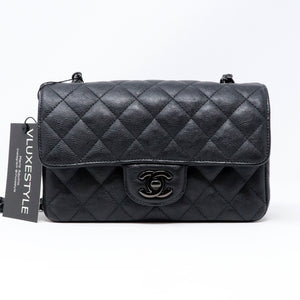 Chanel Classic Mini Rectangular 17S So Black Crumpled Calfskin with shiny black hardware