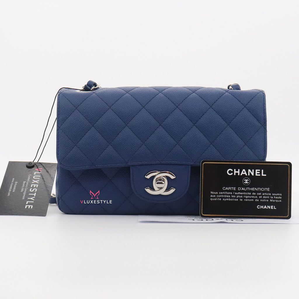 Chanel Classic Mini Rectangular 18C Blue Quilted Caviar with silver hardware
