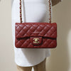 Chanel Classic Mini Rectangular 18C Iridescent Burgundy Quilted Caviar with brushed gold hardware