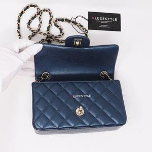 Chanel Classic Mini Rectangular 18S Pearly Dark Blue Quilted Caviar with light gold hardware