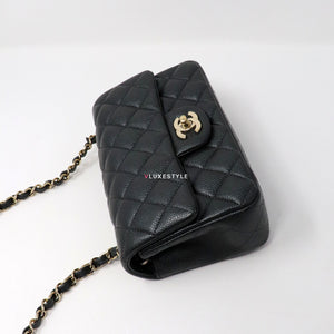 Chanel Mini Rectangular 18S Dark Grey Quilted Caviar with light gold hardware.