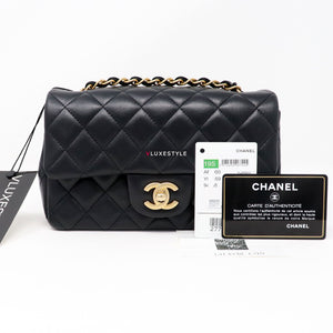 Chanel Classic Mini Rectangular 19S Black Quilted Lambskin with brushed gold hardware