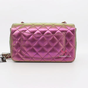 Chanel Classic Mini Rectangular  20B Purple/Green Iridescent Quilted Lambskin with light gold hardware