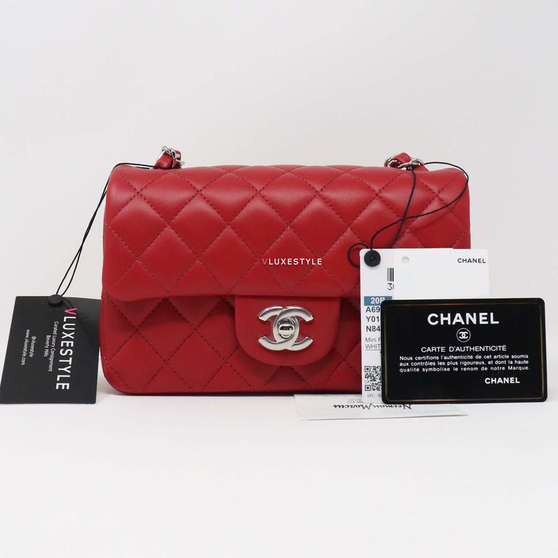 Chanel Classic Mini Rectangular 20B Red Quilted Lambskin with silver hardware