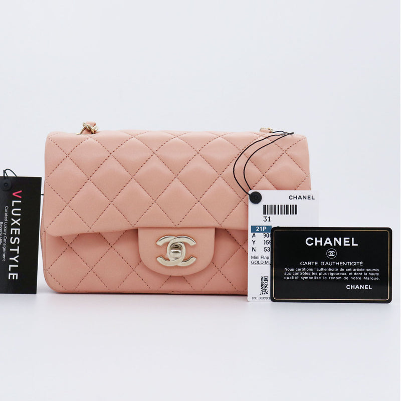 Classic Mini Rectangular 21P Light Pink Quilted Lambskin with light gold hardware