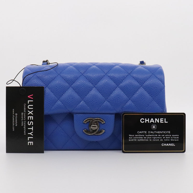 Chanel Classic Mini Rectangular 16C Blue Cobalt Quilted Caviar with ruthenium hardware