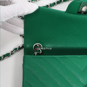 Chanel Classic Mini Rectangular 17S Green Chevron Caviar with silver hardware