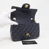 Chanel Classic Mini Rectangular Navy Quilted Caviar with brushed gold hardware