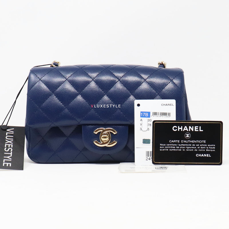 Chanel Classic Mini Rectangular 17B Navy Quilted Caviar with light gold hardware