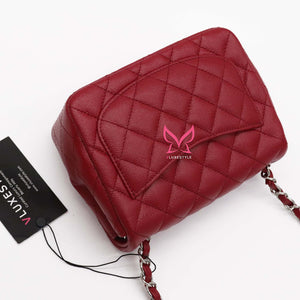 Classic Mini Square 17B Red Quilted Caviar with silver hardware