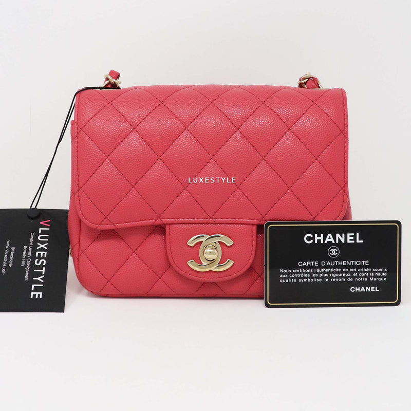 Chanel Classic Mini Square 17C Pink Quilted Caviar with light gold hardware
