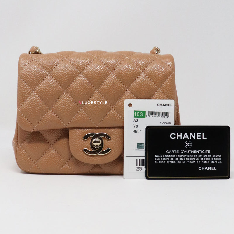 Chanel Classic Mini Square 18S Dark Beige/Caramel Quilted Caviar with light gold hardware