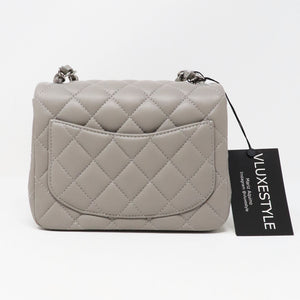 Chanel Classic Mini Square 19B Gray Quilted Lambskin with silver hardware