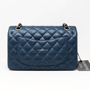 Chanel Classic Small Double Flap 18S Pearly Blue Quilted Caviar with light gold hardware