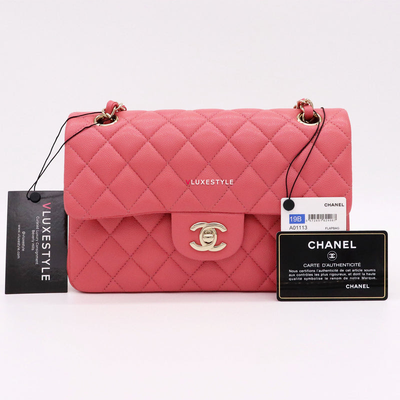 Chanel Classic Small Double 19B Rose/Pink Quilted Caviar with light gold hardware
