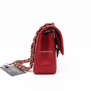Chanel Classic Small Double Flap 20B Red Chevron Caviar with light gold hardware