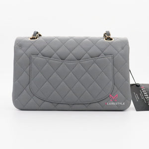 Chanel Classic Small Double Flap 20C Gray/Grey Quilted Caviar with light gold hardware